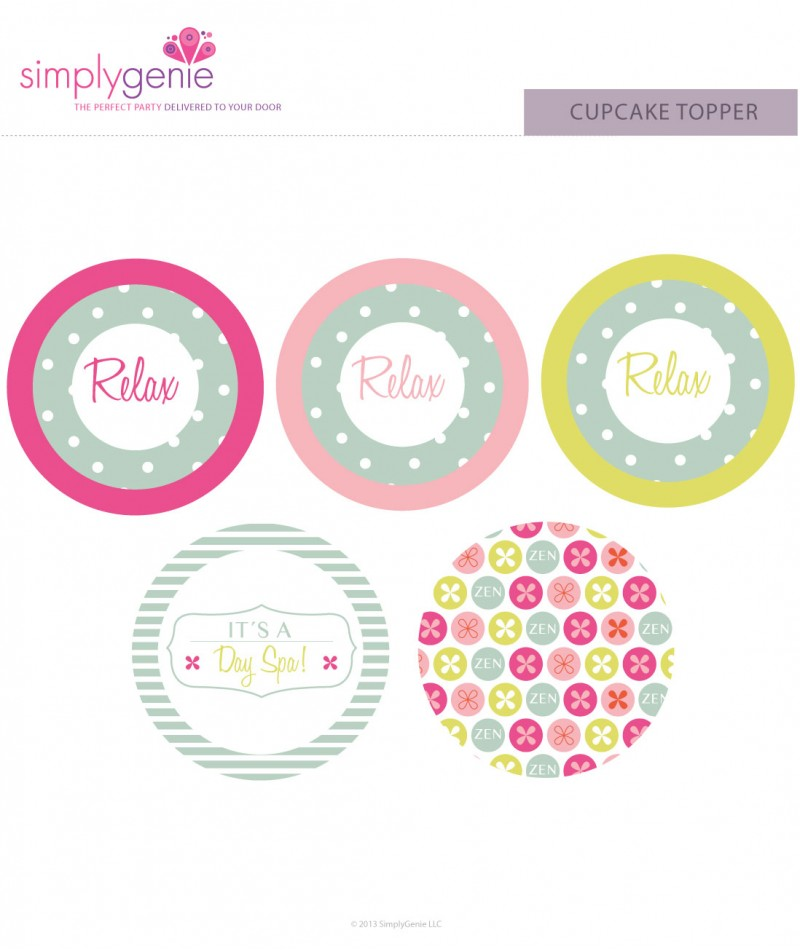 Spa Birthday Party Cupcake Toppers