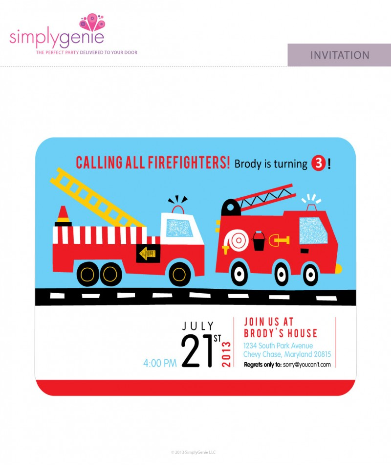 Truck Birthday Party Invitations – Fire Truck Birthday Invitation