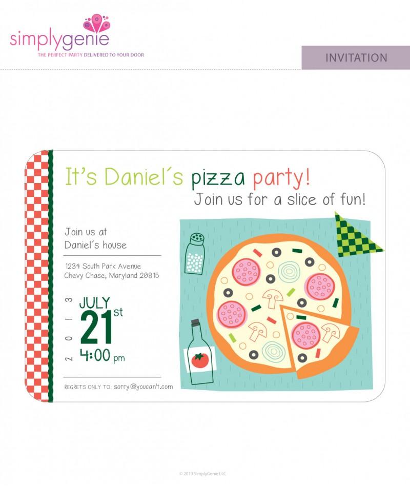 Pizza Birthday Party Invitations