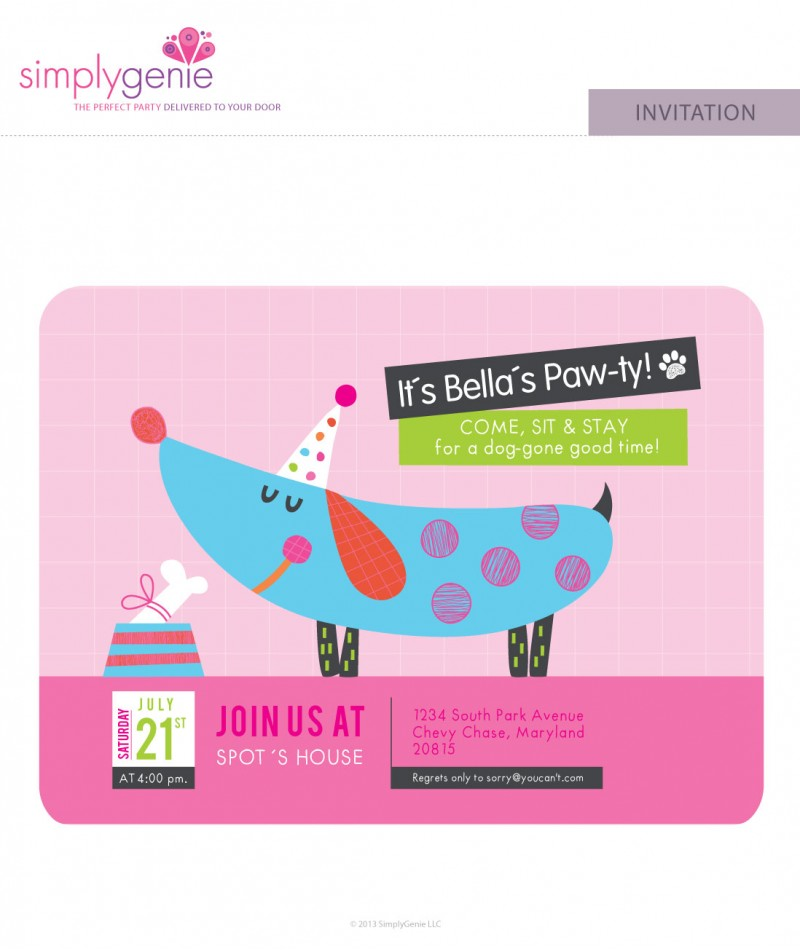 Pink Puppy Birthday Party Invitations