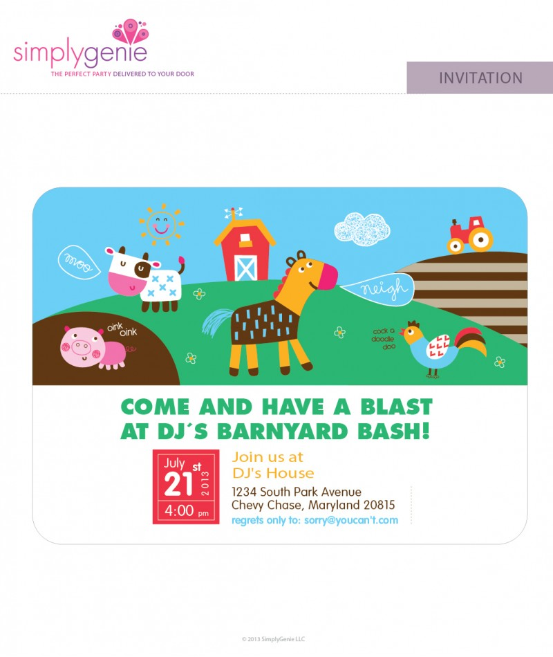 farm birthday party invitations for boys