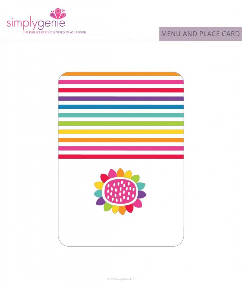 Rainbow Birthday Party Menu Cards