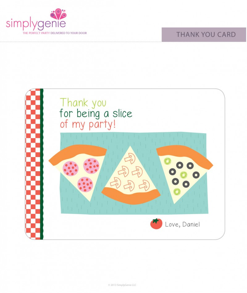 Pizza Birthday Party Thank You Cards