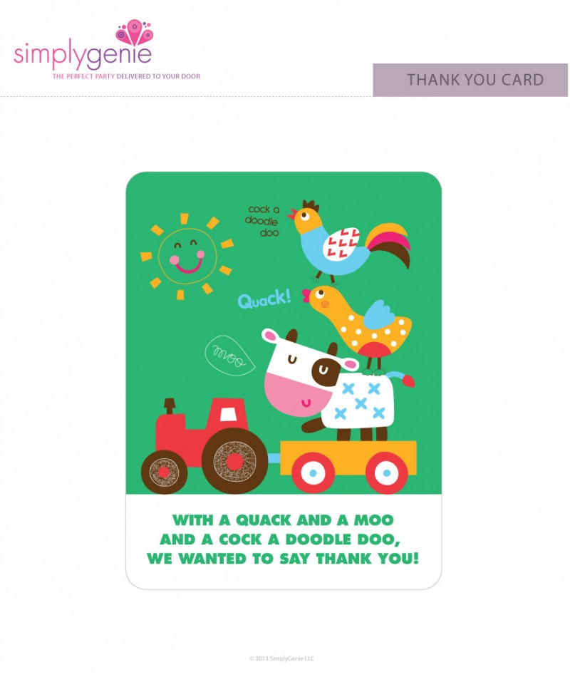 Farm Birthday Party Thank You Cards For Boys
