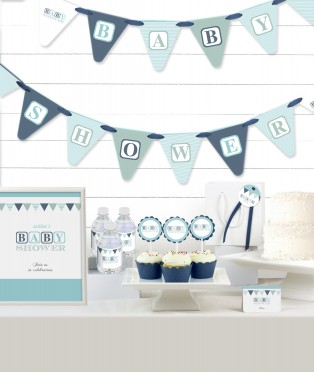 Blue Blocks Baby Shower Party in a Box
