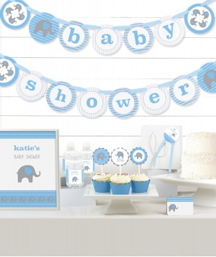 Blue Elephant Baby Shower Party in a Box