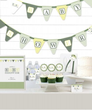 Green Blocks Baby Shower Party in a Box