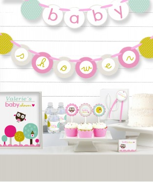 Pink Owl Baby Shower Party in a Box