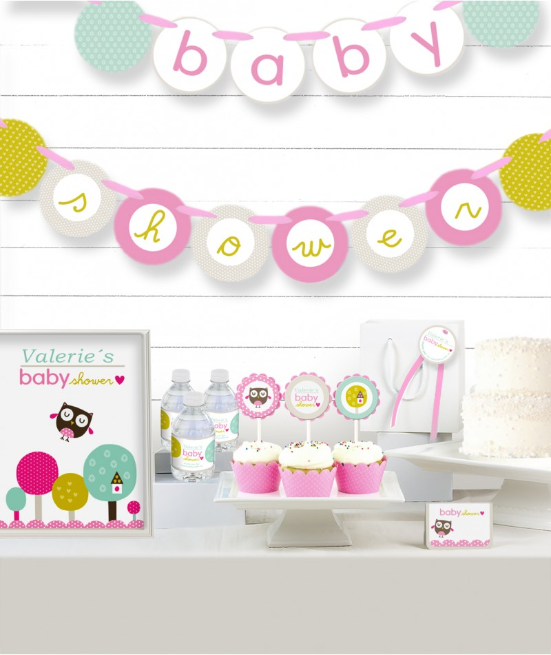 home pink owl baby shower party in a box
