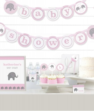 Pink Elephant Baby Shower Party in a Box