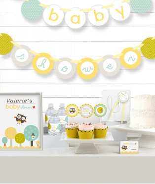 Yellow Owl Baby Shower Party in a Box