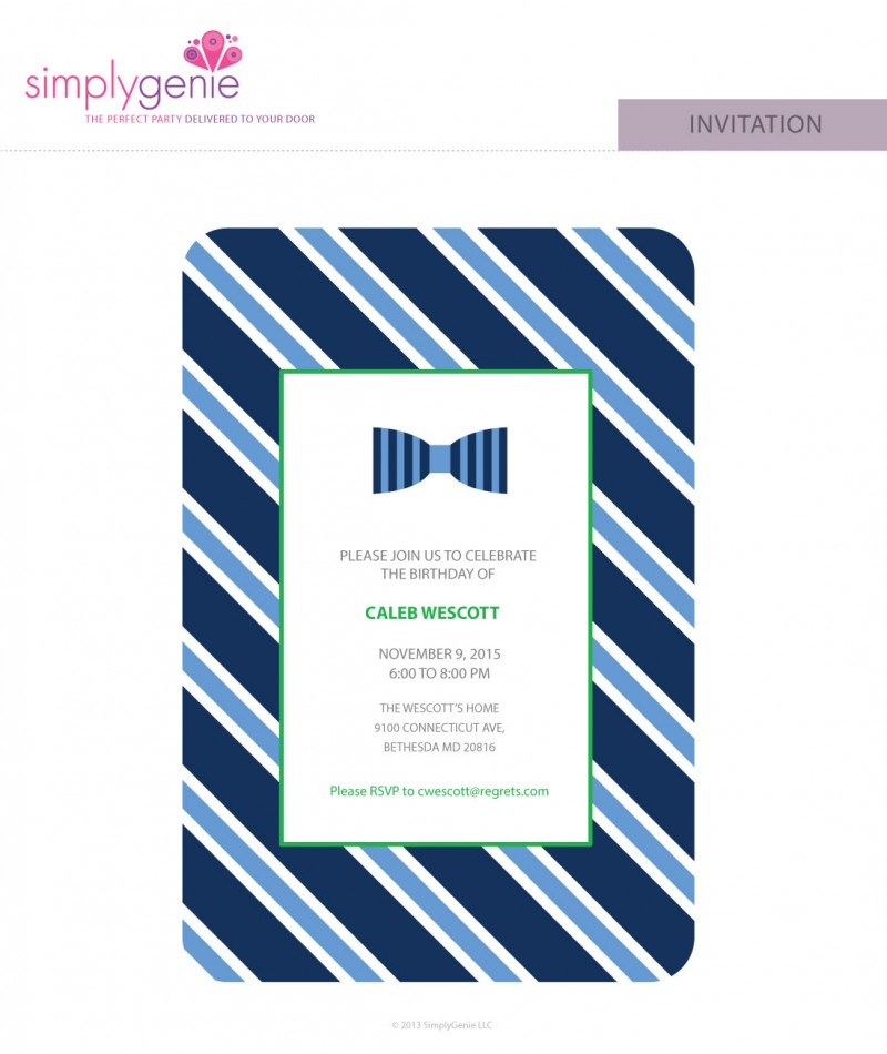 Bow tie birthday party invitations filmwisefo