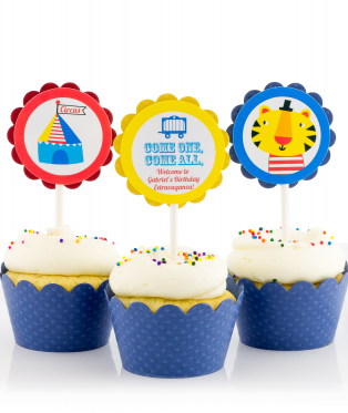 Circus Birthday Party Cupcake Toppers
