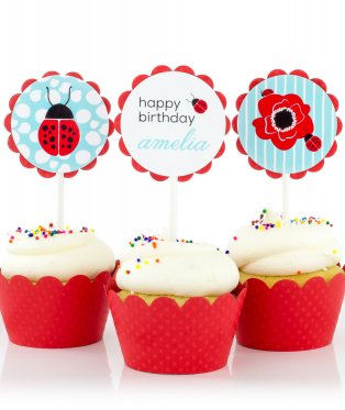 Ladybug Birthday Party Cupcake Toppers