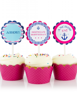 Nautical Birthday Party Cupcake Toppers for Girls