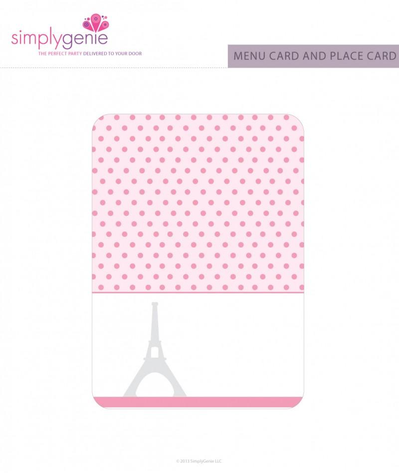 Paris Themed Birthday Party Menu Cards