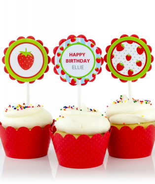 Strawberry Birthday Party Cupcake Toppers