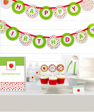 Strawberry Birthday Party Decor Kit