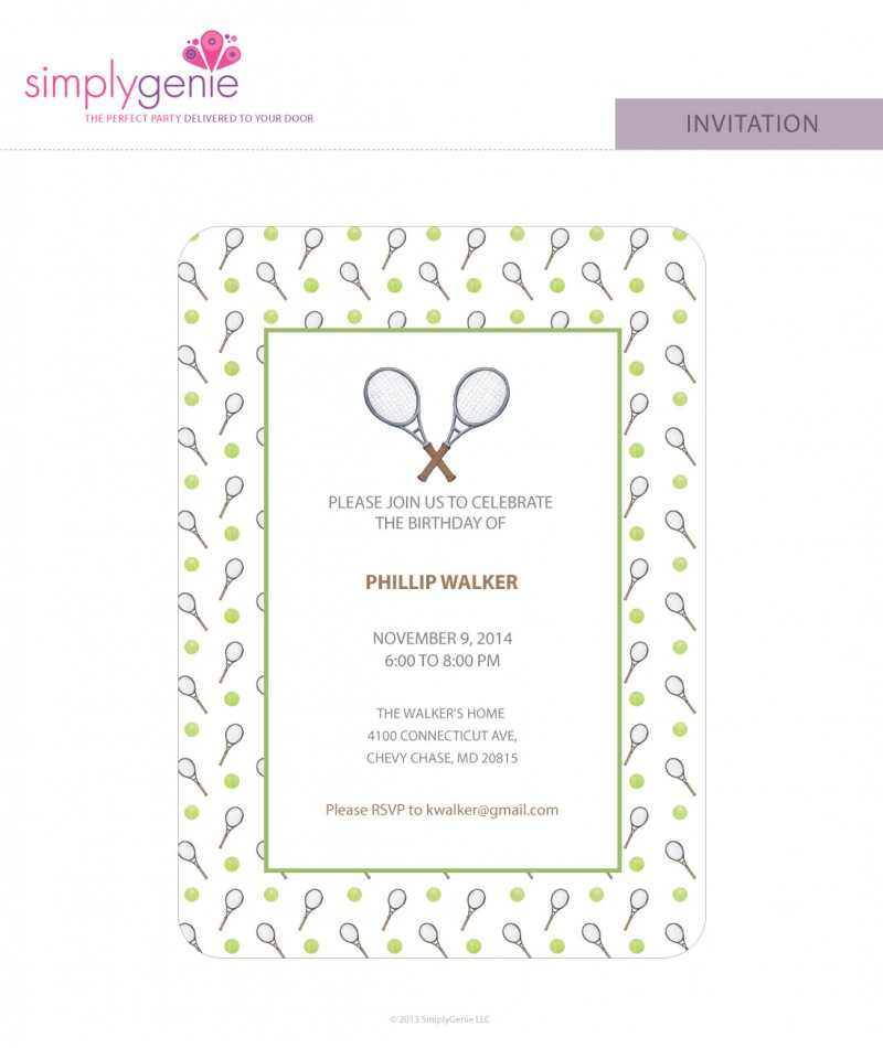 Birthday party invitations tennis birthday party invitations filmwisefo Image collections