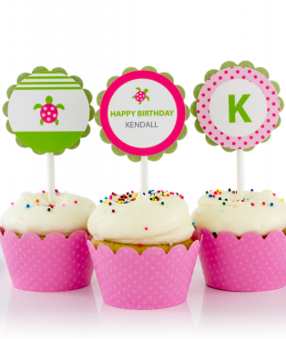 Pink Sea Turtle Birthday Party Cupcake Toppers