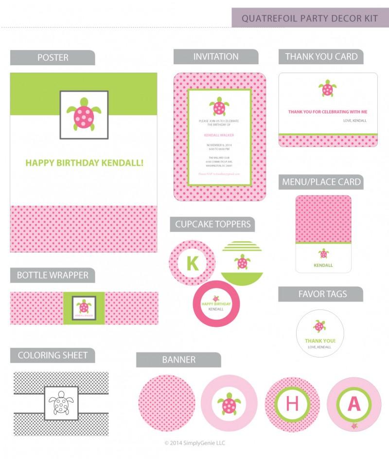 Pink sea turtle birthday party decor kit filmwisefo