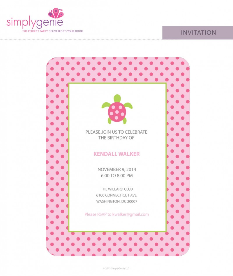 Sea Turtle Birthday Party Invitations