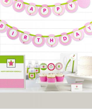 Pink Sea Turtle Birthday Party Decor Kit