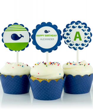 Blue Whale Birthday Party Cupcake Toppers