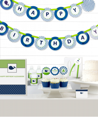 Blue Whale Birthday Party Decor Kit
