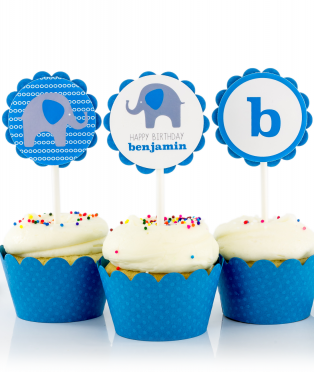 Blue Elephant Birthday Party Cupcake Toppers