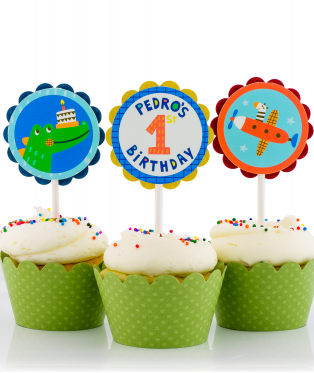 First Birthday Party Cupcake Toppers for Boys