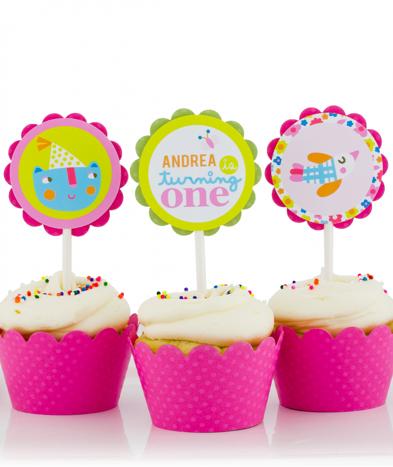 First Birthday Party Cupcake Toppers for Girls
