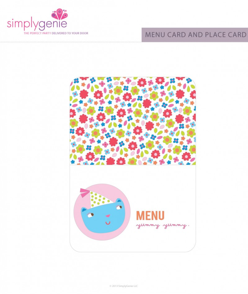 First Birthday Party Menu Cards For Girls