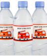 Fire Truck Birthday Party Bottle Labels