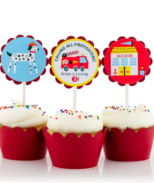 Fire Truck Birthday Party Cupcake Toppers