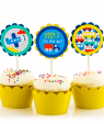 On the Go Birthday Party Cupcake Toppers