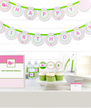 Pink Whale Birthday Party Decor Kit