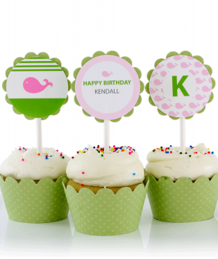 Pink Whale Birthday Party Cupcake Toppers