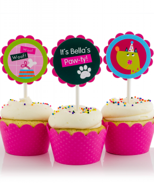 Pink Puppy Birthday Party Cupcake Toppers