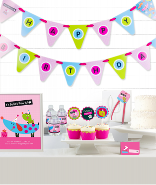 Pink Puppy Birthday Party Decor Kit