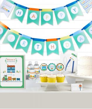 Train Birthday Party Decor Kit