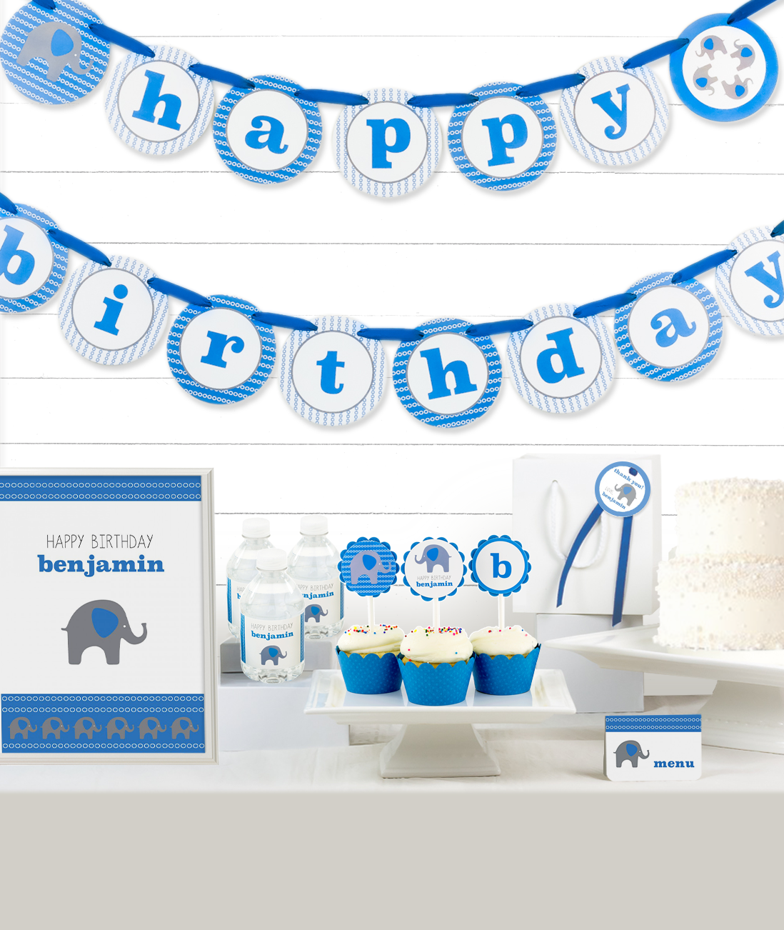 Blue Elephant Party Decor Kit
