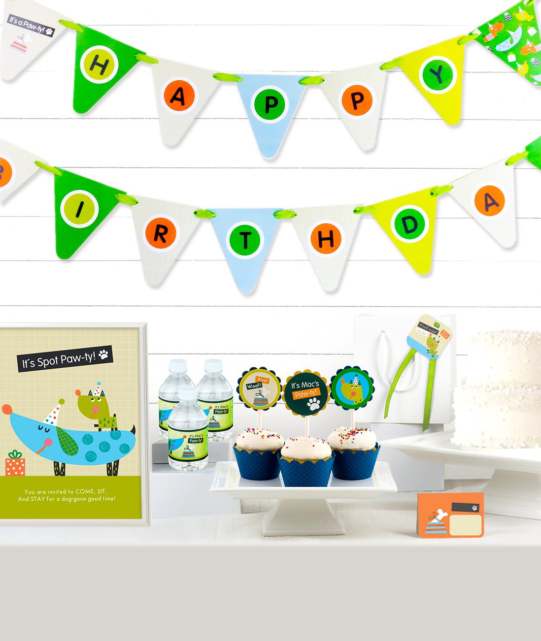 Puppy Birthday Party Decor Kit