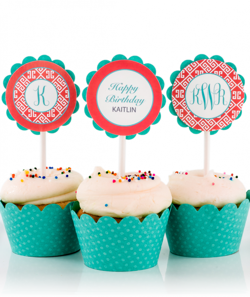 Coral Greek Key Monogram Birthday Party Cupcake Toppers