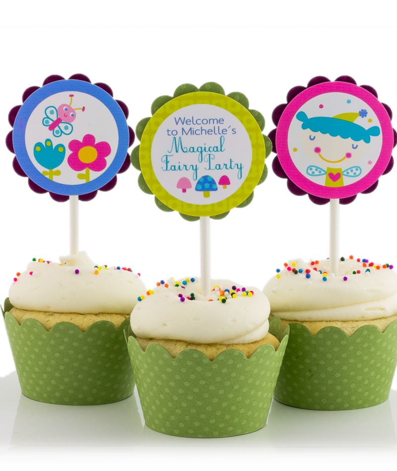 Purple Fairy Birthday Party Cupcake Toppers